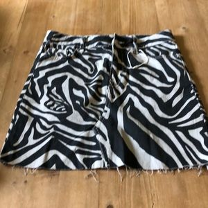 Zara Denim Zebra Stretch Mini Skirt Sz XS